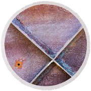 Round Beach Towel featuring the photograph Shapes And Textures On Bunker Door by Gary Slawsky