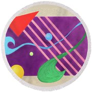 Shapes And Textures Round Beach Towel