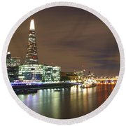 Shard From Tower Bridge London Round Beach Towel