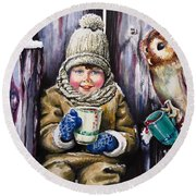 Round Beach Towel featuring the painting Sharing A Hot Chocolate by Geni Gorani