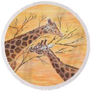 Round Beach Towel featuring the painting Sharing by Elizabeth Lock