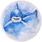 Round Beach Towel featuring the painting Shark by Edwin Alverio