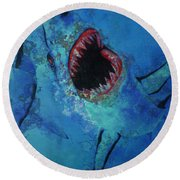 Shark Frenzy Nightmare Round Beach Towel by Lori Seaman