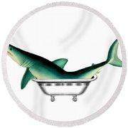 Shark In The Bath Round Beach Towel