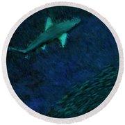Shark In The Dark Round Beach Towel