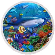 Shark Reef Round Beach Towel by Gerald Newton
