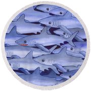 Sharks Round Beach Towel