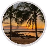 Sharks Cove Sunset 4 - Oahu Hawaii Round Beach Towel by Brian Harig