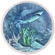 Sharks In The Water Round Beach Towel