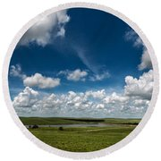 Sharps Creek Road Panorama Round Beach Towel