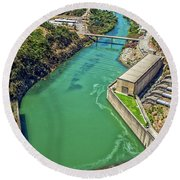 Shasta Lake Dam Round Beach Towel by Billie-Jo Miller
