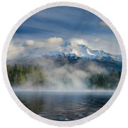 Shasta Mists And Morning 2 Round Beach Towel