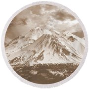 Round Beach Towel featuring the photograph Shasta Mt by Athala Carole Bruckner