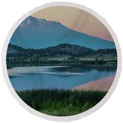 Shasta Reflected Round Beach Towel by Nancy Marie Ricketts