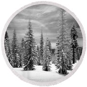 Shasta Snowtrees Round Beach Towel by Martin Konopacki