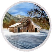 Shasta Winter Barn Round Beach Towel