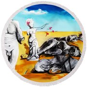 Round Beach Towel featuring the painting Shattered Limbs To Shattered Souls by Helen Syron