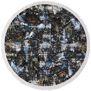 Round Beach Towel featuring the digital art Shattered Patterns by Richard Ortolano
