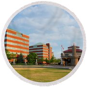 Round Beach Towel featuring the photograph Shattuck Park by Joel Witmeyer