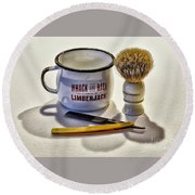 Round Beach Towel featuring the photograph Shaving Still Life by Walt Foegelle