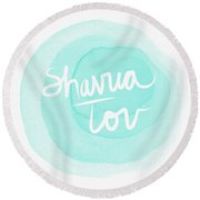 Shavua Tov Blue And White- Art By Linda Woods Round Beach Towel