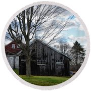 Shaw Hill Farm Round Beach Towel by Tricia Marchlik