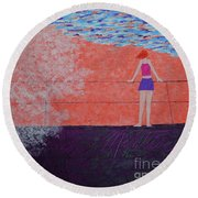 The Beach At Sunset Round Beach Towel