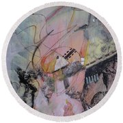 Round Beach Towel featuring the mixed media She Got Lost On Purpose by Robin Maria Pedrero