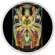 Round Beach Towel featuring the digital art She Is A Mosaic by Paula Ayers
