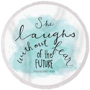 She Laughs Round Beach Towel
