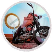 Round Beach Towel featuring the photograph She Rides- by JD Mims