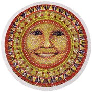 Round Beach Towel featuring the painting She Shines by Kym Nicolas