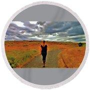 Round Beach Towel featuring the photograph She Walks  by Lisa Kaiser