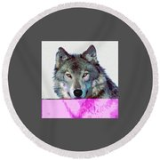 Round Beach Towel featuring the mixed media She Wolf by Charles Shoup