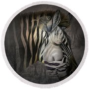She Zebra Round Beach Towel