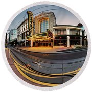 Round Beach Towel featuring the photograph Shea's On Main Street Buffalo - Panorama by Chris Bordeleau