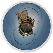 Round Beach Towel featuring the photograph Shea's On Main Street Buffalo - Tiny Planet by Chris Bordeleau