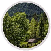Round Beach Towel featuring the photograph Shed In The Slovenian Alps by Stuart Litoff