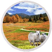 Sheep And Road Ver 2 Round Beach Towel