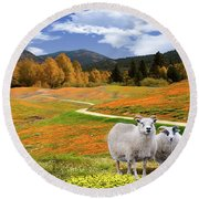 Sheep And Road Ver 3 Round Beach Towel