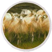 Sheep At Hadrian's Wall Round Beach Towel