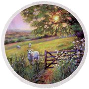 Sheep At Sunset Round Beach Towel