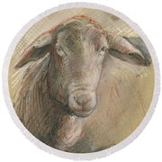 Sheep Head Round Beach Towel by Juan Bosco