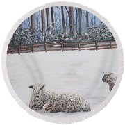 Sheep In Field Round Beach Towel by Reb Frost