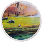 Round Beach Towel featuring the painting Sheep In Pasture by Jodie Marie Anne Richardson Traugott          aka jm-ART