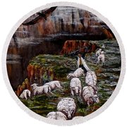 Sheep In The Mountains  Round Beach Towel by Judy Kirouac