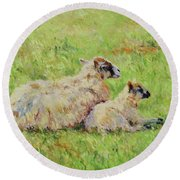 Sheep In The Spring Time,la Vie Est Belle Round Beach Towel
