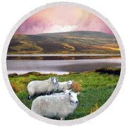 Sheep Of Donegal Round Beach Towel