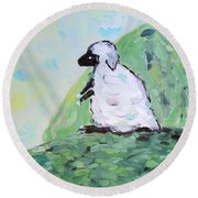 Sheep On A Hill Round Beach Towel