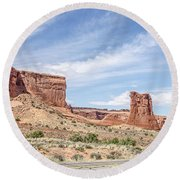 Sheep Rock In Arches National Park Round Beach Towel